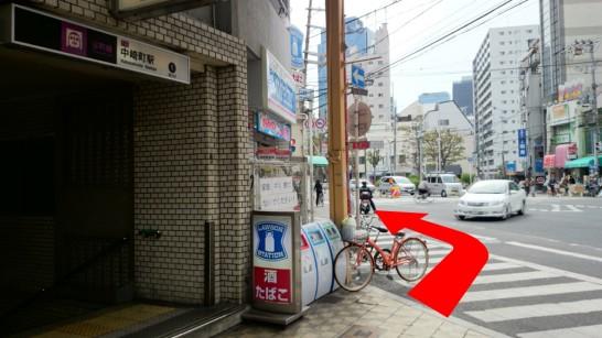 大阪市営地下鉄「中崎町」駅1番出口からNEOSTEPへのアクセス方法3