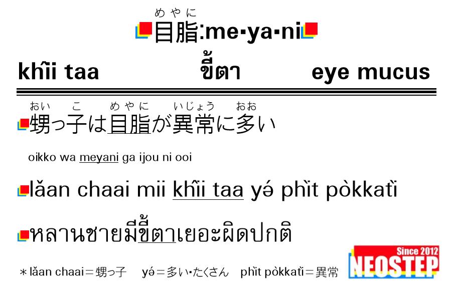 目脂-ワンポイントタイ語表現