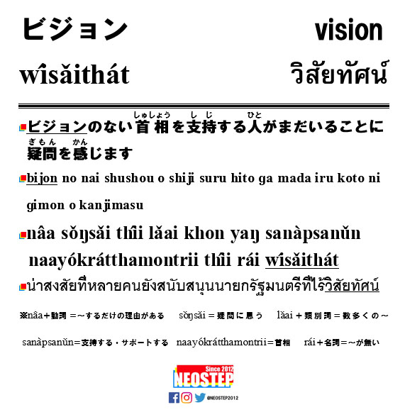 ビジョン-ワンポイントタイ語表現