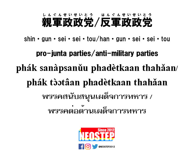 親軍政政党/反軍政政党-ワンポイントタイ語表現